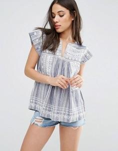 Блузка со вставками и вышивкой d.RA Jeremy - Синий