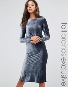 Плиссированное бархатное платье миди с длинными рукавами Glamorous Tall - Синий