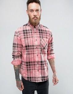Выбеленная розовая свободная рубашка в клетку ASOS - Розовый