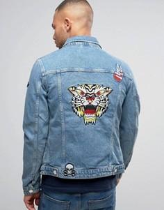 Голубая джинсовая куртка с нашивками Jack & Jones Intelligence - Синий