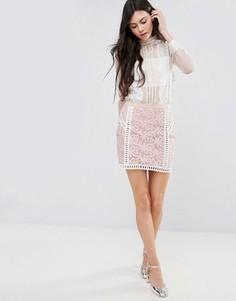 Кружевная юбка с контрастной подкладкой Endless Rose - Белый