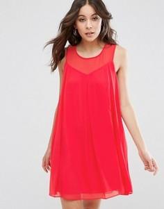 Цельнокройное платье с лифом сердечком BCBG - Розовый