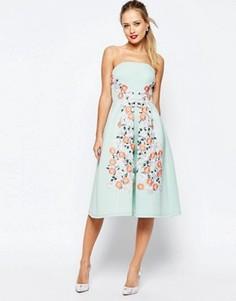 Платье миди для выпускного с цветочной вышивкой ASOS SALON - Зеленый