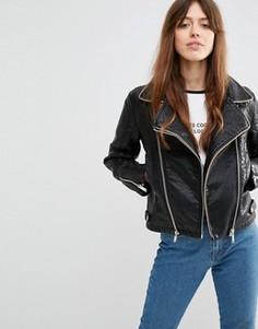 Байкерская куртка из искусственной кожи с фактурными вставками ASOS - Черный