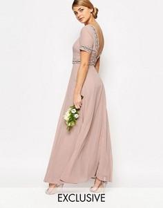 Платье макси с пышной юбкой и отделкой Maya - Розовый