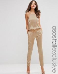 Атласный комбинезон с брюками в складку ASOS TALL Luxe - Кремовый
