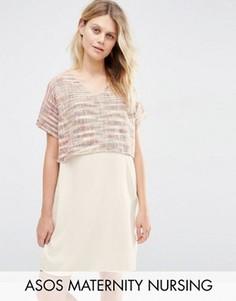 Цельнокройное платье для беременных и кормящих из фактурной ткани ASOS Maternity - Мульти
