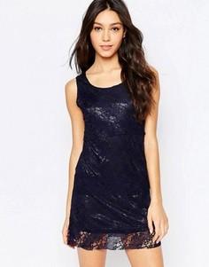Цельнокройное платье с кружевной накладкой Mela Loves London - Темно-синий
