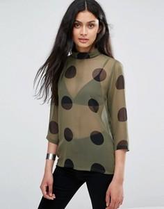 Полупрозрачная рубашка в горошек Ichi X Bimara - Зеленый