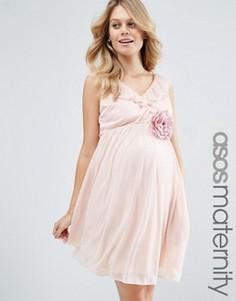 Платье мини с оборкой и V-образным вырезом ASOS Maternity - Розовый
