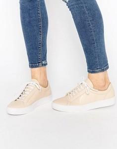 Кожаные кроссовки телесного цвета со шнуровкой Vagabond Zoe - Бежевый