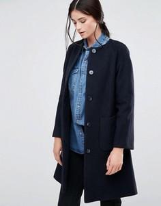 Темно-синее расклешенное пальто без воротника Helene Berman - Темно-синий
