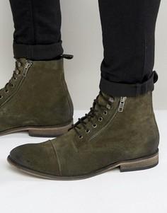 Замшевые ботинки цвета хаки на шнуровке ASOS - Зеленый