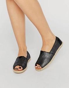 Черные эспадрильи с эффектом металлик и открытым носком TOMS - Черный