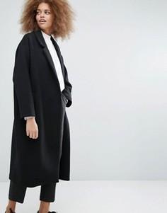 Длинное стеганое пальто Monki - Черный