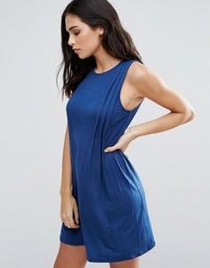 Цельнокройное платье со складками спереди BCBG - Синий