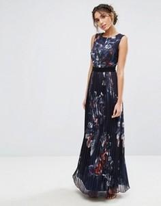 Темно-синее платье макси с цветочным принтом и плиссированной юбкой Little Mistress - Мульти