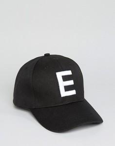 Бейсболка с буквой Е 7X - Черный