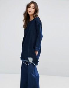 Рваный джинсовый лонгслив Waven Eira - Синий