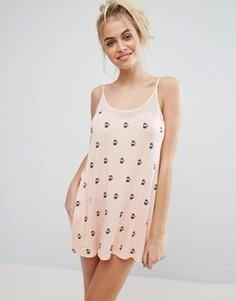 Платье-комбинация персикового цвета Wildfox - Розовый