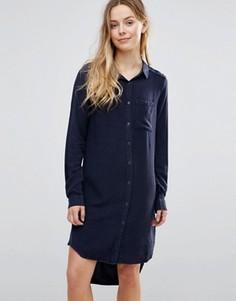 Платье-рубашка с завязкой Brave Soul - Темно-синий