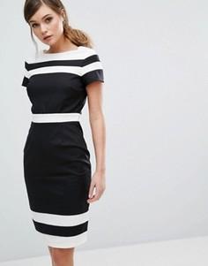 Платье-футляр с контрастными полосками Paper Dolls - Черный