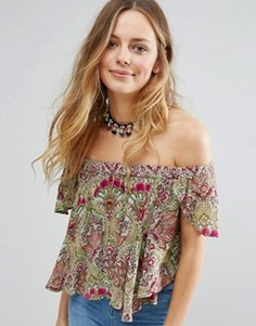 Raga Desert Flower Printed Bardot Crop Top - Зеленый
