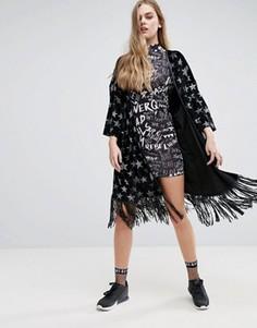 Бархатное кимоно с блестящими звездами Jaded London - Черный