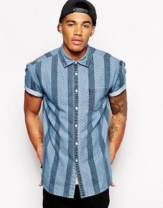 Джинсовая рубашка с короткими рукавами в полоску и горошек ASOS - Синий