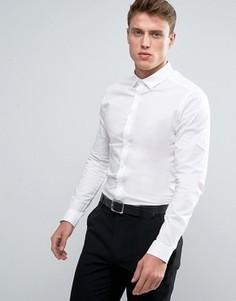 Белая рубашка скинни с длинными рукавами ASOS - Белый