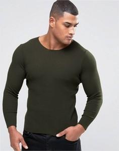 Джемпер цвета хаки в рубчик ASOS - Зеленый