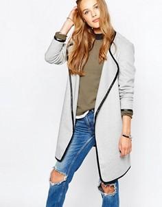 Драпированное пальто с поясом Vila - Серый