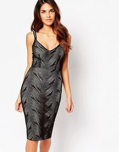 Платье миди с верхним слоем-паутинкой Lipstick Boutique Jenny - Черный
