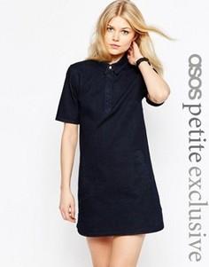 Платье-рубашка с закругленным низом ASOS PETITE - Синий