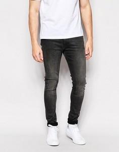 Эластичные серые джинсы скинни Weekday - Серый