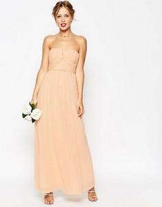 Присборенное платье макси с лифом-бандо ASOS WEDDING - Зеленый