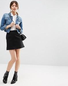 Черная джинсовая юбка-трапеция с выбеленным эффектом ASOS - Черный