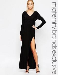 Платье макси с глубоким вырезом Club L Maternity - Черный