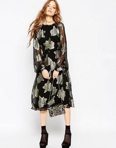 Приталенное платье миди с цветочным принтом ASOS - Мульти