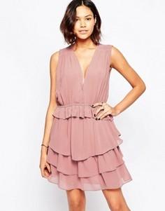 Платье мини c оборками Greylin Chennai - Розовый