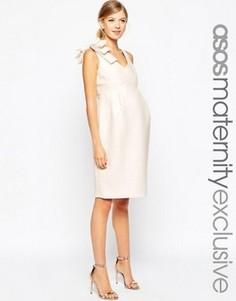 Платье-футляр для беременных с бантом на плече ASOS Maternity - Розовый