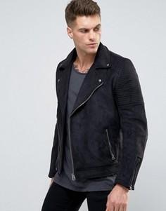 Черная байкерская куртка из искусственной замши ASOS - Черный
