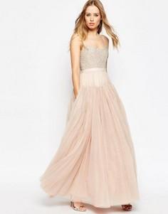 Декорированное платье макси с пышной юбкой из тюля Needle & Thread - Розовый
