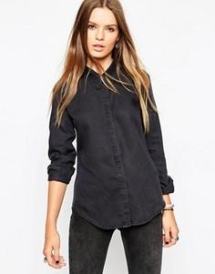 Черная джинсовая рубашка с остроконечным воротником ASOS - Черный
