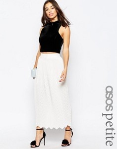 Плиссированная юбка макси с шевронной отделкой ASOS PETITE - Белый