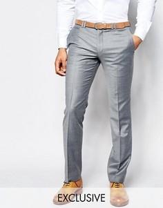 Фланелевые брюки на свадьбу суперзауженного кроя Noak - Серый