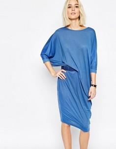 Трикотажное платье миди с драпировкой на талии Paisie - Синий