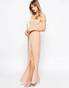 Платье макси с вырезами на плечах и драпировкой ASOS WEDDING - Розовый