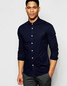 Синяя рубашка скинни с длинными рукавами ASOS - Темно-синий