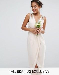 Платье миди с запахом и отделкой TFNC Tall WEDDING - Розовый
